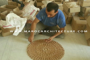 50 pointed star Moroccan mosaic tile installation by Maroc Architecture et Zellij