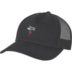 Front of black Globe Brand trucker hat.