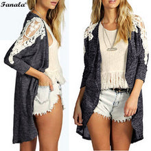 Fanala Lace Patch Long Sleeve Cardigan Duster