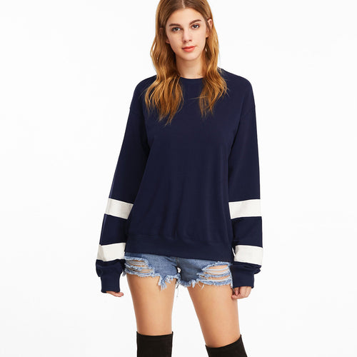 Striped Sleeve Long Sleeve Pullover
