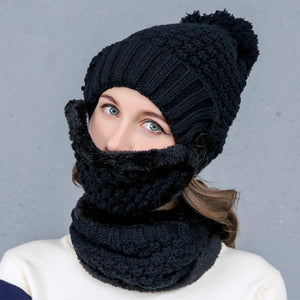 Aetrends Knitted Beanie W/Mask & Scarf