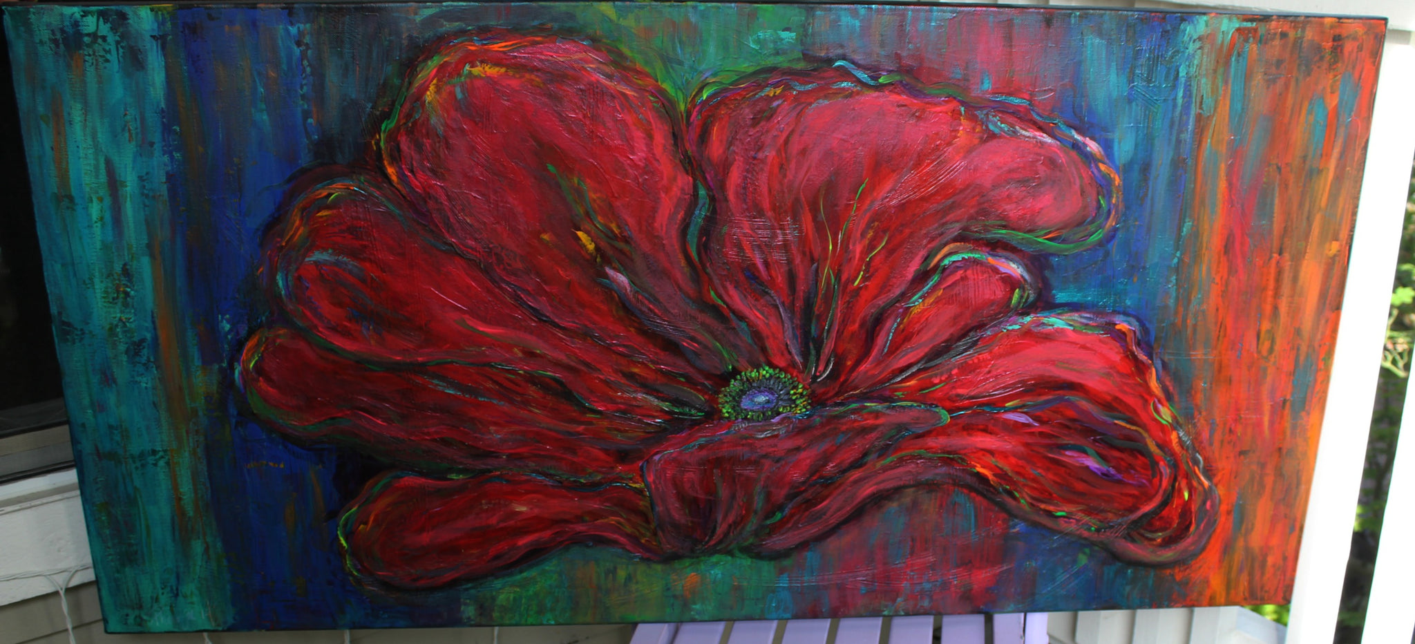 48 in x 24 in Poppy Painting that Pops with UV Reactive Highlights