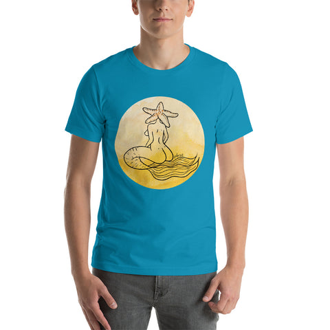Mermaid with Starfish Head Yellow Watercolor Digital Painting Yoga Short-Sleeve Unisex T-Shirt