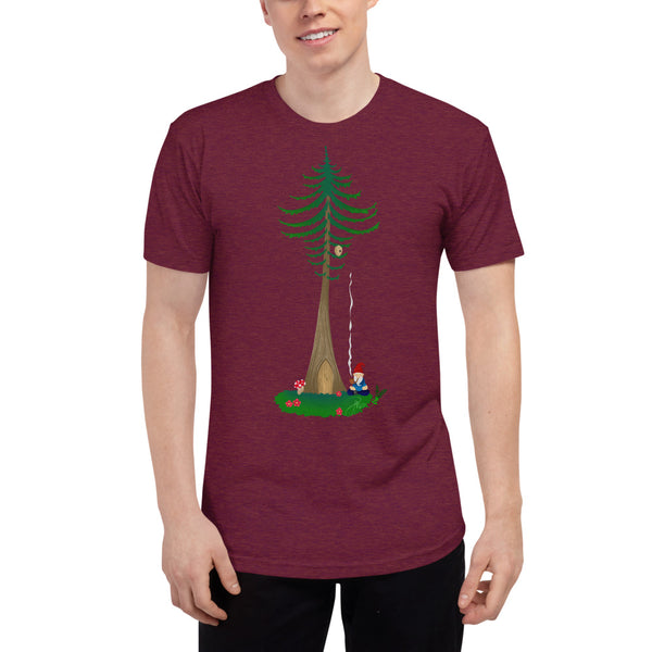 Ohm Aum Gnomie Toking under a Douglas Fir in the PNW Yoga Unisex Tri-Blend Track Shirt