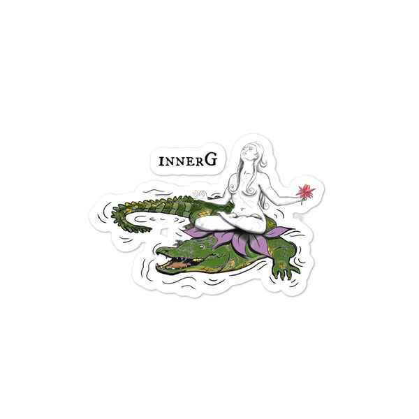 Akhilanda Riding a Crocodile with that Goddess innerG Bubble-Free Sticker Slaps