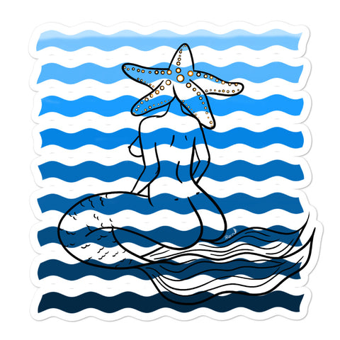Mermaid Starfish Head Yoga Pose Under the Sea Bubble-free stickers