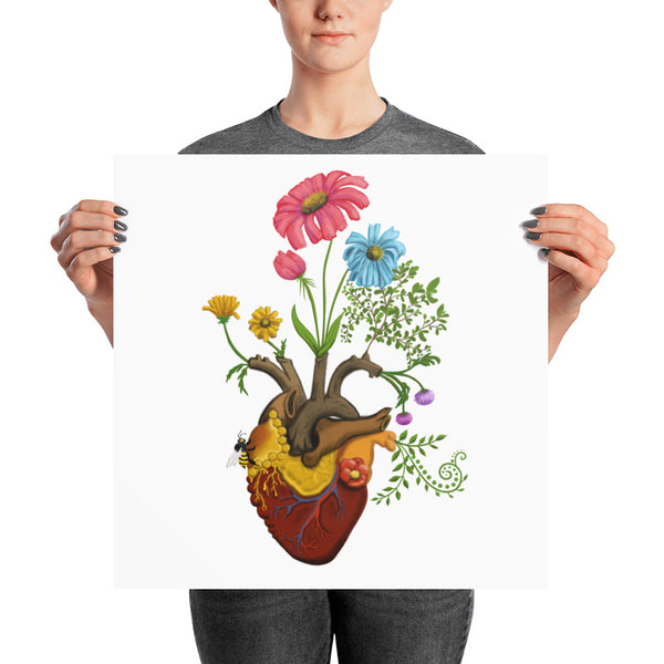 Harvest Peace Grow Love Bee Here Now Yoga Art Print Poster