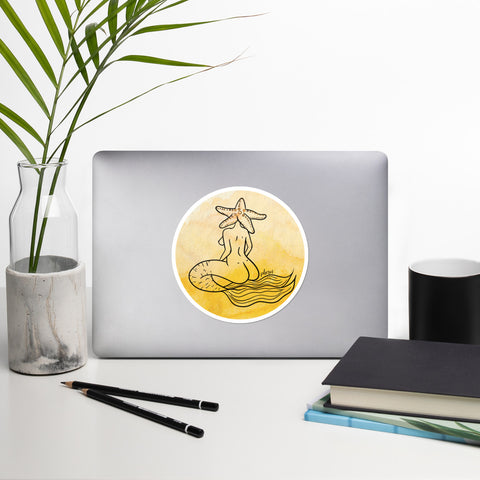 Mermaid with Starfish Head Yellow Watercolor Digital Painting Bubble-free stickers