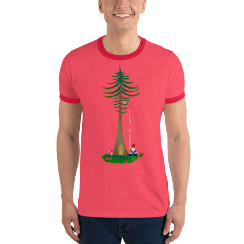 Ohm Aum Gnomie Toking under a Douglas Fir in the PNW Yoga Ringer T-Shirt