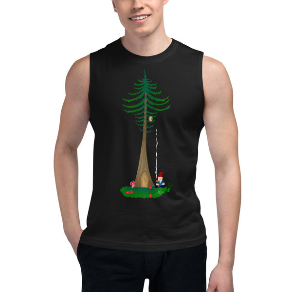 Ohm Aum Gnomie Toking under a Douglas Fir in the PNW Yoga Muscle Shirt