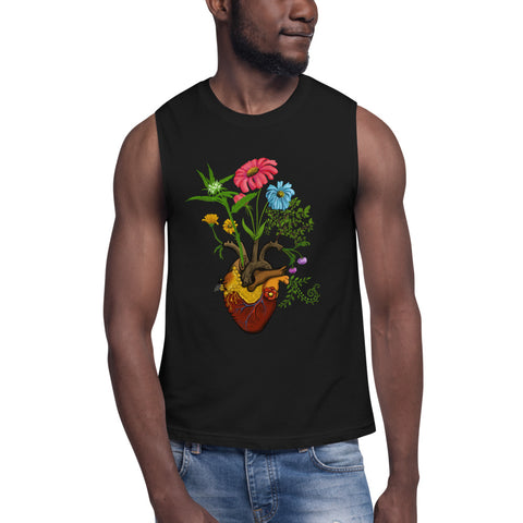 Harvest Peace Grow Love Anatomical Heart Yoga Muscle Shirt