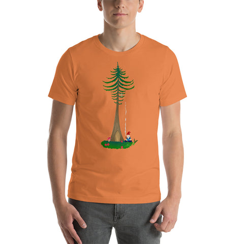 Ohm Aum Gnomie Toking under a Douglas Fir in the PNW Short-Sleeve Unisex Yoga T-Shirt