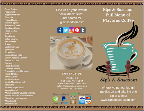 Sips & Sarcasm Flavored Menu Brochure 2018-2019 - For Sales Reps