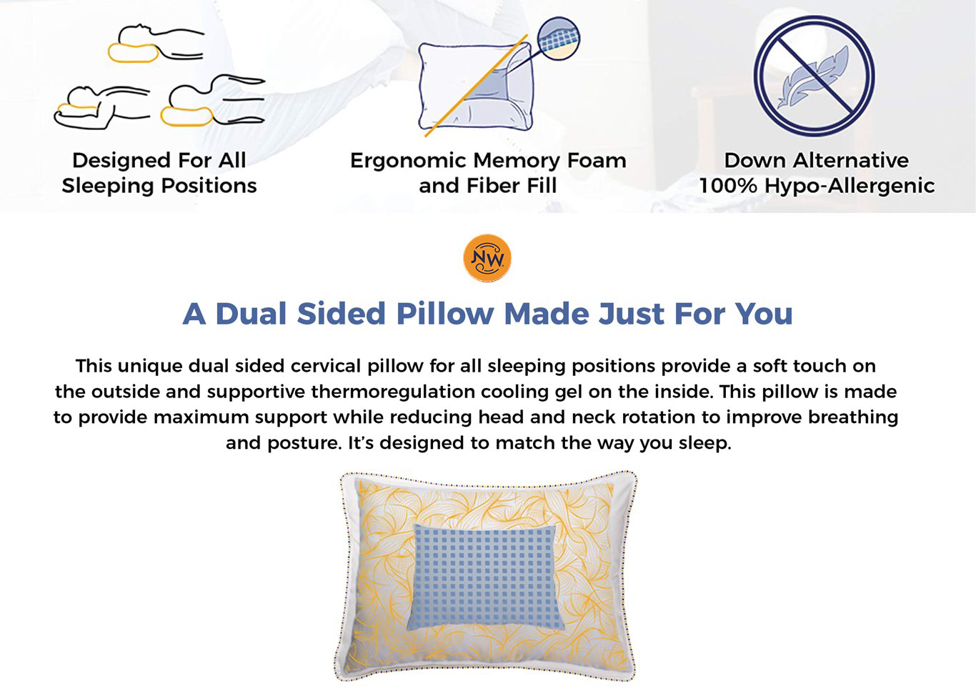 Dual Comfort Plush Pillow For All Sleep Types Noggin Amp Wink Noggin And Wink