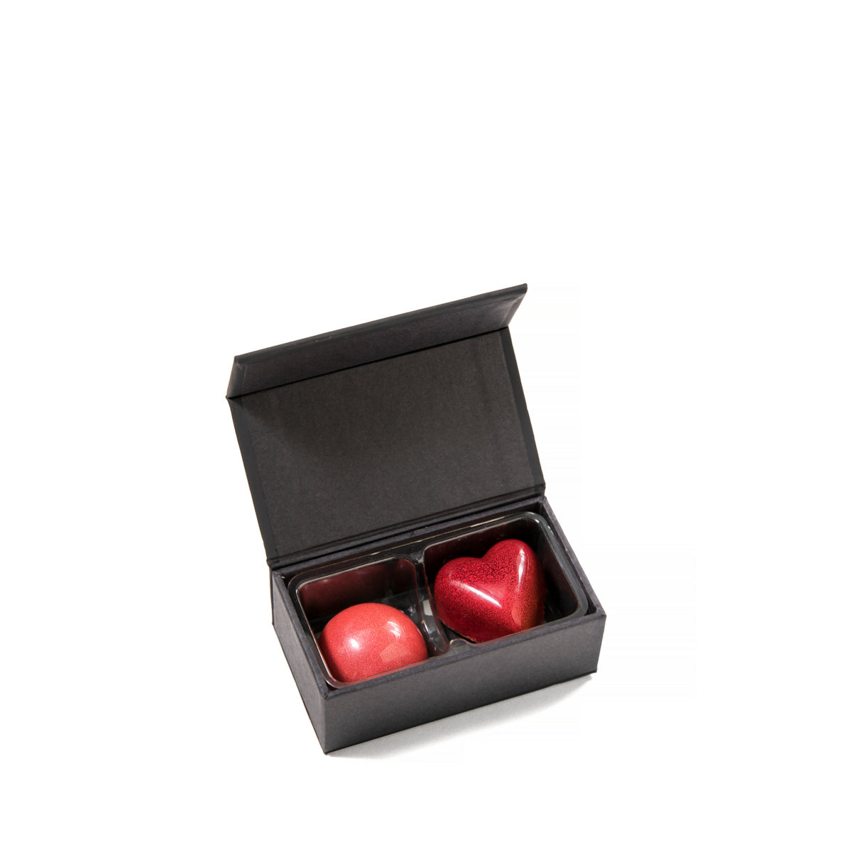 A two-piece collection of Feve chocolates, in a luxury box. Great for wedding chocolates, party favors, hotel chocolates, fine dining chocolates, and other luxury uses.