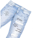 Kariym Balthazar Embroidered Paint Splattered Jeans