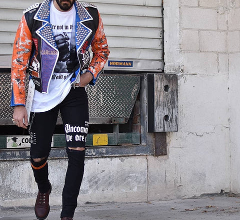 Biker Jacket Blue and Orange