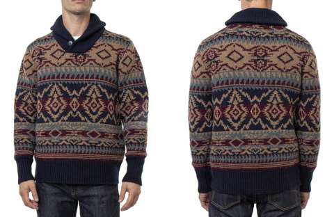 Schott NYC Southwestern Inspired Shawl Collar Sweater
