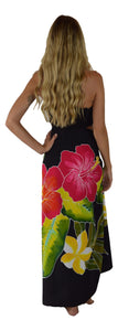 Island Style Batik Sarong with Hand-Painted Hibiscus on Black