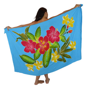 Island Style Batik Sarong with Hand-Painted Hibiscus on Turquoise