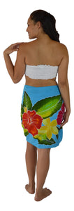 "Island Style - Hand-Painted Batik Sarong - Half-Size (23"" x 72"") - Hibiscus - Turquoise"
