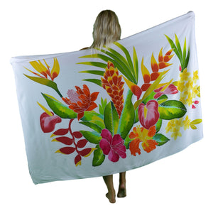 Island Style Batik Sarong with Hand-Painted Tropical Bouquet on White