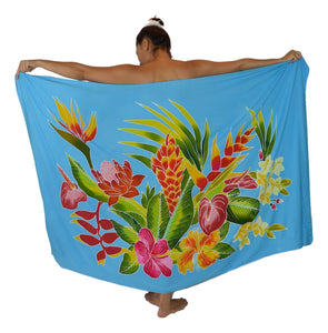 "Island Style - Hand-Painted Batik Sarong - Full-Size (48"" x 72"") - Tropical Bouquet - Turquoise"