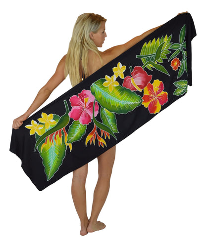 Island Style - Batik Half Size Sarong - Black with Tropical Bouquet & Ginger