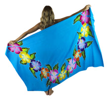 "Island Style - Hand-Painted Batik Sarong - Full-Size (48"" x 72"") - Hibiscus Lei - Turquoise"