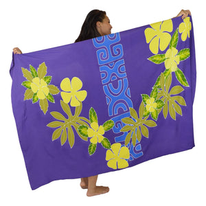 "Island Style - Hand-Painted Batik Sarong - Full-Size (48"" x 72"") - Tahitian Plumeria - Violet"