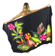 "Island Style - Hand-Painted Batik Sarong - Full-Size (48"" x 72"") - Tropical Garden - Black"