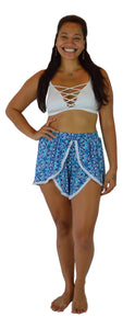 Holoholo - Short Pant with White Lace Trim - Mandala - Blue