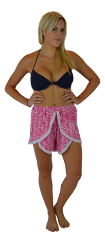 Holoholo - Short Pant with White Lace Trim - Mandala - Pink