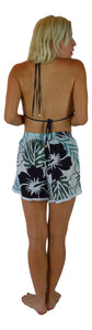Holoholo - Short Pant with White Lace Trim - Paradise Hibiscus - Blue