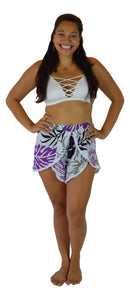 Holoholo - Short Pant with White Lace Trim - Paradise Hibiscus - Purple