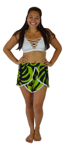 Holoholo - Short Pant with White Lace Trim - Monstera - Green