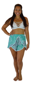 Holoholo - Short Pant with White Lace Trim - Tahitian - Blue