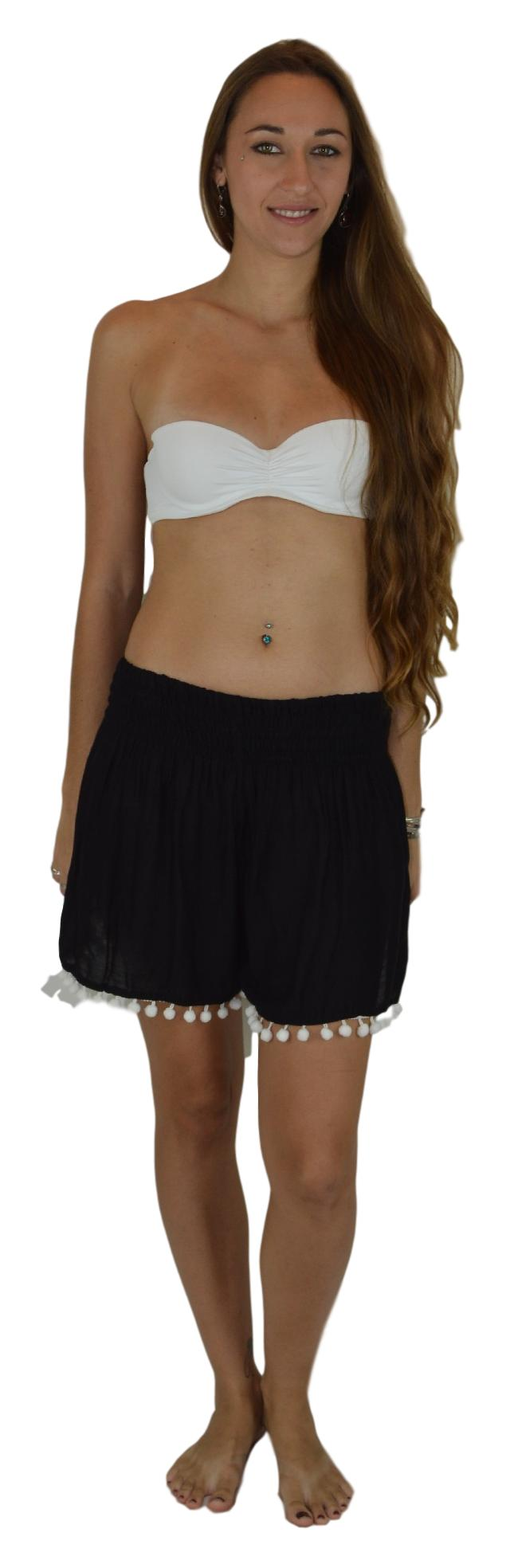 Aloha Royale - Beach Babes PomPom - Solid - Black-L/XL