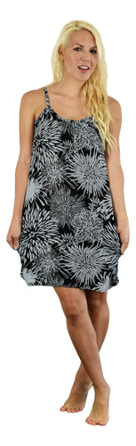 Secret Beach - Bali Dress - Chrysanthemum - Black / Harbor Mist