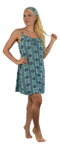Aloha Royale - Bali Dress - Short -  Hawaiian Plumeria - Aqua Splash and Acai