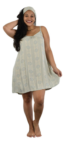 Aloha Royale - Bali Dress - Short - Hawaiian Plumeria - Harbor Mist & Coconut Milk