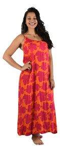 Bali Long Dress - New Hibiscus - Red / Orange