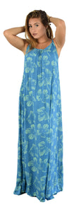 Bali Long Dress - New Hibiscus - Palace Blue / Nile Green