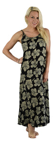Holoholo - Bali Long Dress - Hibiscus - Cream / Background - Black