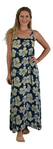 Holoholo - Bali Long Dress - Hibiscus - Cream / Background - Dark Blue