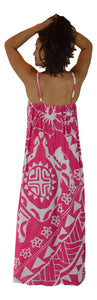 Aloha Royale - Bali Dress - Long - Hawaiian Turtle - Fuchsia