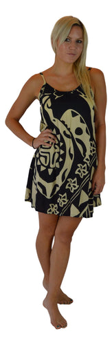 Aloha Royale - Bali Dress - Short - Hawaiian Turtle - Black /Cream