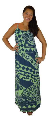 Aloha Royale - Bali Dress - Long - Holoholo - Blueberry and Seaglass