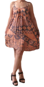 Aloha Royale - Bali Dress - Short - Holoholo - Peach and Bluestone