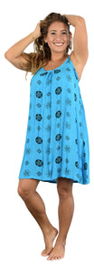 Aloha Royale - Bali Dress - Short -  Bora Bora Plumeria - Black & Turquoise